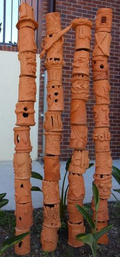 tssyr7art: Totem Poles - Ceramic creations