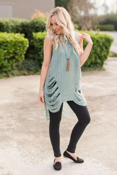 Distressed Tank Sweater In Sage