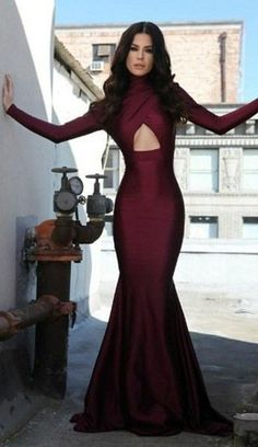 2016 Sexy Burgundy High Collar Mermaid Prom Dresses Long Sleeves Open Back…