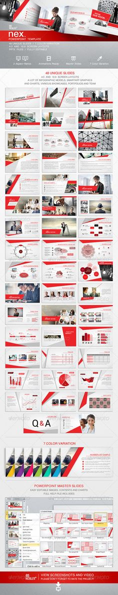 NEX - PowerPoint Template Business Presentation by Design Presentation, Business Presentation, Presentation Templates, Web Design, Slide Design, Layout Design, Business Powerpoint Templates, Keynote Template, Corporate Design