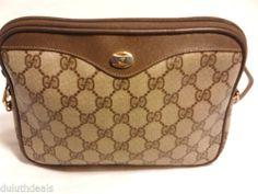 GUCCI Vintage Shoulder Bag Cross body Purse, Beige & Brown