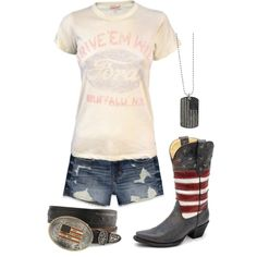 A fashion look from April 2013 featuring Junk Food Clothing t-shirts, Hollister Co. shorts and 1928 necklaces. Browse and shop related looks. Cute Country Outfits, Country Girl Style, Country Fashion, Western Outfits, Western Wear, My Style, Country Life, Southern Outfits, Country Wear