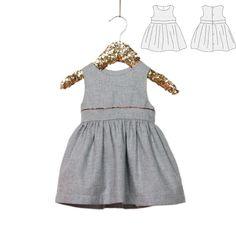 Patron Couture PDF à télécharger.Bébé Fille. 6 à 24 mois Jolie robe habillée Sans mancheEntièrement doubléePatte dos boutonnéeTaille haute appuyée par une bande