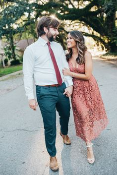 Haute Off The Rack, New Orleans blogger, Louisiana blogger, women's fashion, Engagement Pictures, Engagement Picture Ideas, What to Wear for Engagement Pictures, Rose Lace Midi Dress, Embellished Sandals, Crystal Y-Necklace,  Kendra Scott Earrings, Modern Slim Fit Trousers, Trim Fit Dress Shirt, Burgundy Tie, His and Her Engagement Outfits, Engagement Picture Hair Ideas, Kendra Scott Jewelry, What To Wear For Engagement Pictures, Nordstrom Lace Dress, Schutz Embellished Sandal