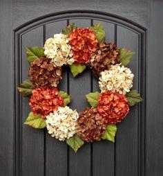 Spring Wreath Summer Wreath Fall Grapevine Door Wreath Decor Cream Orange Brown Hydrangea by AnExtraordinaryGift on Etsy