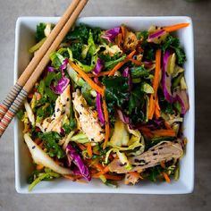 This Spicy Asian Chicken Salad is AMAZING and so easy to make!! Takes just 5mins to make!! (paleo friendly)