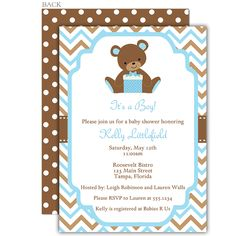 Chevron Teddy Bear Blue Baby Shower Invitation
