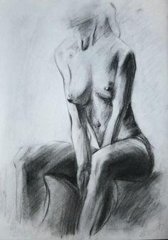 Nue femme dessin crayon beaux arts