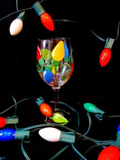 Hand Painted Christmas Lights Wine Glass by LindseyRaye on Etsy, $17.00