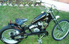 Photos of custom motorized bicycles.See OCC Schwinn Stingray choppers we've motorized.Also rat rods & cruisers with gas or electric motors.