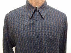 Jhane Barnes Mens L Multi-Color Woven Long-Sleeve Shirt Made in Hong Kong #JhaneBarnes #ButtonFront