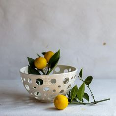 White Earthenware Bowl with Holes 4350 – Frances Palmer Pottery Kitchenware, Tableware, Earthenware, Serving Bowls, Decorative Bowls, Arts And Crafts, Pottery, Ceramics, Antiques