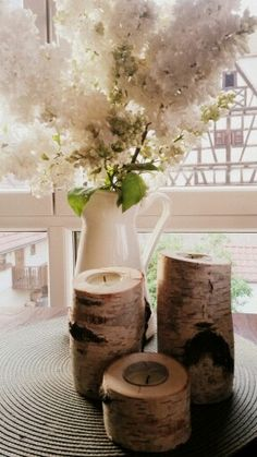 DIY Kerzenhalter aus Birkenstamm / DIY  birch wood candle