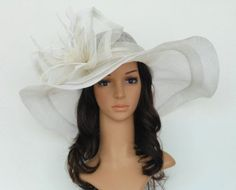 New-Church-Kentucky-Derby-Wedding-Sinamay-Wide-Brim-Dress-Hat-cc2963-Off-White