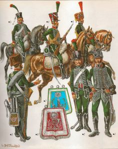 Chasseurs a Cheval  1.Chef d'Escadron Full Dress 10th Regiment 800 - 1803.2. Trooper Full Dress 2nd Regiment 1801 -1803. 3 .- Trooper Elite Co 22nd Regt Campaign Dress 1803 4 .- Trooper 1st Regt 1801. 5 Trooper 11th Regt 1801, 6 .Elite Co 1803.           7.Trooper's Sabretache.  8.Officer's Sabretache 10th Regt.