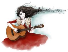 Cécile Mancion Fashion Illustrations on We Heart It Music Pics, Music Images, Art Music, Vampire Weekend, Guitar Girl, Face Sketch, Indian Musical Instruments, Cecile, Illustration Girl
