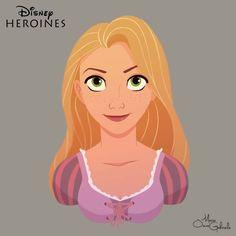 disney-ilustrações-retratos-heroínas-rapunzel