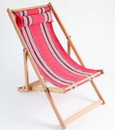 Hand woven fabric sling fabric on white oak deck chair frame
