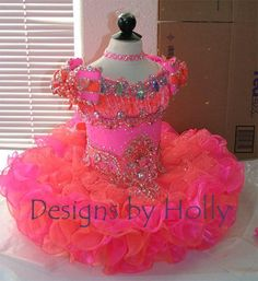 2016 Pink Princess Ball Gowns Girls Pageant Dresses Mini Organza Bows Beads Lovely Short Little Baby Skirts For Event Custom Made Flower Girl Dresses For Kids Flower Girl Dresses On Sale From Toprated, $74.33| Dhgate.Com