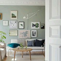 living room with sage green walls and gallery wall Living Room Green, Green Rooms, Home Living Room, Apartment Living, Apartment Therapy, Green Apartment, Apartment Plants, Apartment Office, Kitchen Living
