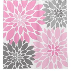 #trendy - #Pink and Gray Chrysanthemums Floral Pattern Shower Curtain