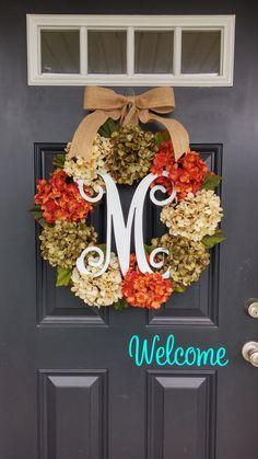 Hydrangea Wreath, Monogram Wreath, Autumn Hydrangea Wreath, Summer Wreath, Fall Wreath, Front Door Wreath, Wedding Decor, Floral Wreath by SimplySundayShop on Etsy https://www.etsy.com/listing/234918472/hydrangea-wreath-monogram-wreath-autumn