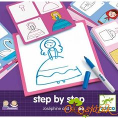 Joséphine and Co - Learn to draw Djeco Toys and Hobbies Children Create Drawing, How To Make Drawing, Diy Step By Step, Step By Step Drawing, Crafts For Kids, Arts And Crafts, Josephine, Princess Drawings, Simple Pictures