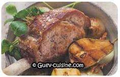 Côte de porc rôtie aux poires et aux oignons