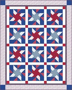 Americana Pinwheel Quilt Pattern Download--interesting block for the next guy quilt or QOV?