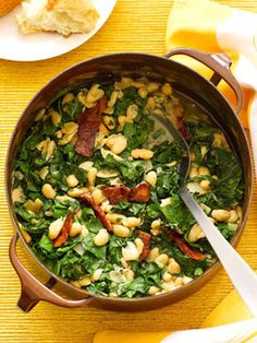High in nutritional value, kale adds an earthy flavor to this bean, bacon, and vegetable stew recipe that takes less than 30 minutes to prepare.