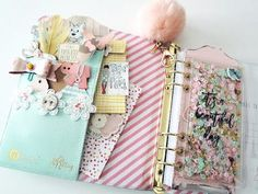 Julie Nutting Planner with Bona Rivera-Tran  I love, love, love how she decorated her planner. So may cute ideas. I think I may use the front pockets for a birthday list, etc.
