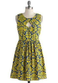 Fanfare and Square Dress. Taking a mansion tour in this regal A-line dress was a novel idea. #yellow #modcloth
