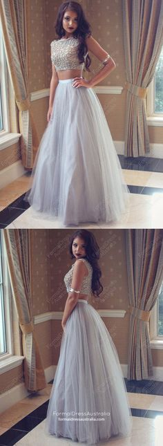 Two Piece Prom Dresses,Long Prom Dresses,New Style Prom Dresses Princess, 2018 Prom Dresses For Teens,Scoop Neck Tulle Prom Dresses with Pearl Detailing Modest Formal Dresses, Prom Girl Dresses, Princess Prom Dresses, Junior Prom Dresses, Prom Dresses For Teens, Prom Dresses 2018, Tulle Prom Dress, Cheap Prom Dresses, Formal Evening Dresses