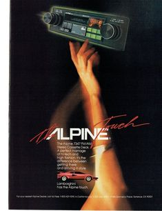 Items similar to 1984 Advertisement Alpine Mobile Electronic Systems The Touch 7347 FM/AM Stereo Cassette Lamborghini Red Sports Car Audio Wall Art Decor on Etsy - Classic Cars Radios, Retro Advertising, Vintage Advertisements, Alpine Car Audio, Red Sports Car, Cell Phone Reviews, Car Audio Systems, Used Cell Phones, Best Mobile Phone