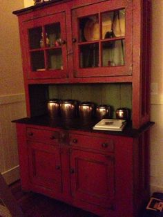 The New Red Hutch And Part Of My Kromex Collection.