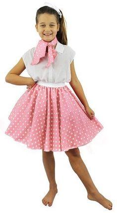 da104f6f8d0 Baby Pink Girls 1950 Circle Skirt Neck Tie White Polka Dot Fancy Dress  Dance Hop