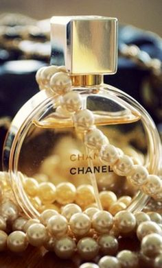 Chanel perfumes and the pearls that are signature to the brand...