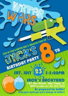 Splash Water Wars Squirt Gun Birthday Party, Personalized Printable Invitation, and Thank You Note, Envelopes, Banner and Welcome Sign Water Birthday Parties, Pool Party Kids, Kids Birthday Themes, Boy Birthday, Splash Party, Water Gun Party, Niklas, Water Balloons, Party Poster