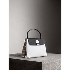 Medium Two-tone Leather and House Check Tote in Chalk White/black - Women   Burberry United States