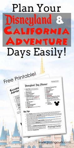 Disneyland printable | itinerary | planning | planner | California Adventure | rides