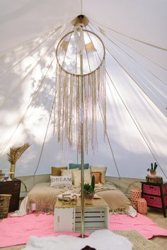 Bell tent interior - Boho Birthday party - The Dreamer's lounge!