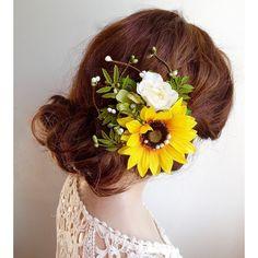 Sunflower wedding hair clip, Sunflower hair accessory ...