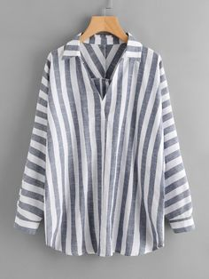 Shop Buttoned Back Striped Plunge Blouse online. SheIn offers Buttoned Back Striped Plunge Blouse & more to fit your fashionable needs. Blouse Styles, Blouse Designs, Outfits For Teens, Trendy Outfits, Diy Camisa, Plus Size Shirts, Blouse Online, Ghana, Shirt Blouses