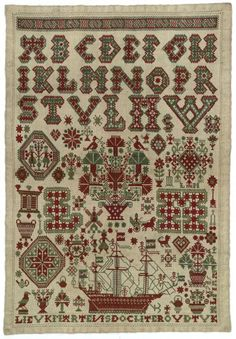 Beautiful example of an embroidery sampler from the south-west area of Friesland. This cross-stitch sampler was worked in red and green.