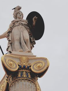 Statue of Athena - the Academy. Ancient greek aesthetics Statue of Athena - the Academy. Greek Gods And Goddesses, Greek Mythology, Slytherin, Athena Aesthetic, Gold Aesthetic, Greece Pictures, Heroes Of Olympus, Ancient Greece, Ancient Greek Art