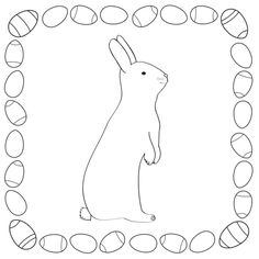Easter Bunny Coloring Template for pre-K and kindergarten kids - from www.kigaportal.com