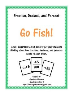 Game to help your students with fractions, decimals, and percent conversions.  Classroom tested!!  $8.50...and so worth it!
