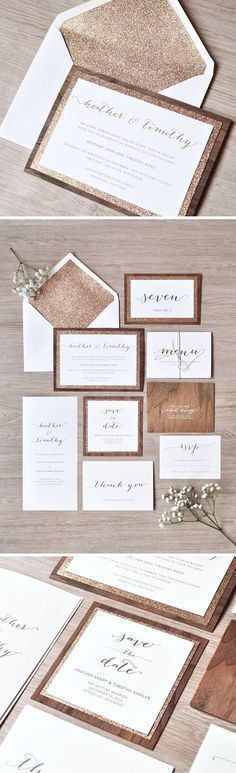 rustic wooden wedding invitations with rose gold glitter layer and evenlope liner