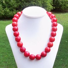Nahla  Big Bold Chunky 22mm Round Ruby Red Turquoise by Tessyla, $145.00