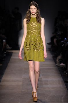 This dress is amazing due to the laser cut swede effect. It looks great on the torso and the rich color enhances the cut outs.  #Carven #FW2012 #RTW #Paris
